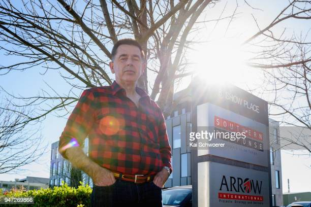 Peter Glasson stands outside the Southern Response office on April 17 2018 in Christchurch New Zealand Glasson started his hunger strike to protest...