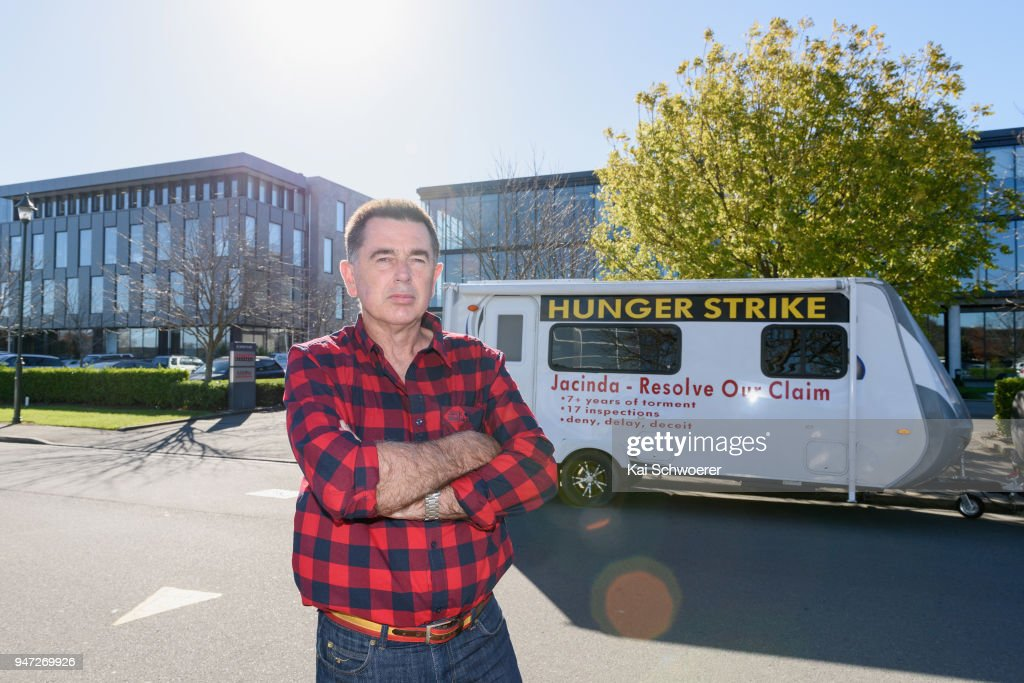 Peter Glasson stands outside the Southern Response office on April 17, 2018 in Christchurch, New Zealand. Glasson started his hunger strike to protest over his unresolved earthquake insurance claim. Glasson's home was badly damaged in the 2011 Christchurch quake, but he is still fighting with his government owned insurer Southern Response to have his policy honoured.