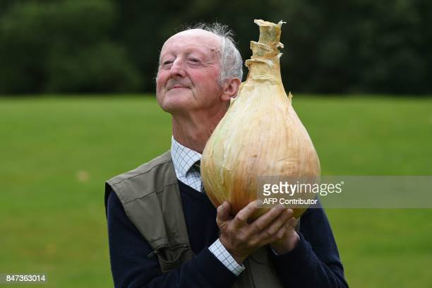 Peter Glazebrook poses for a photograph with his 66 kg onion which won its class in the giant vegetable competition on the first day of the Harrogate...