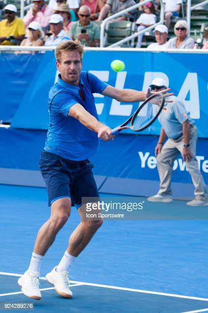 Peter Gojowczyk defeats Steve Johnson during the Semifinals of the ATP Delray Beach Open on February 24 at the Delray Beach Stadium Tennis Center in...