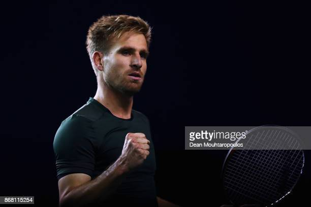 Peter Gojowczyk of Germany celebrates winning a point against Ryan Harrison of the USA during Day 1 of the Rolex Paris Masters held at the...