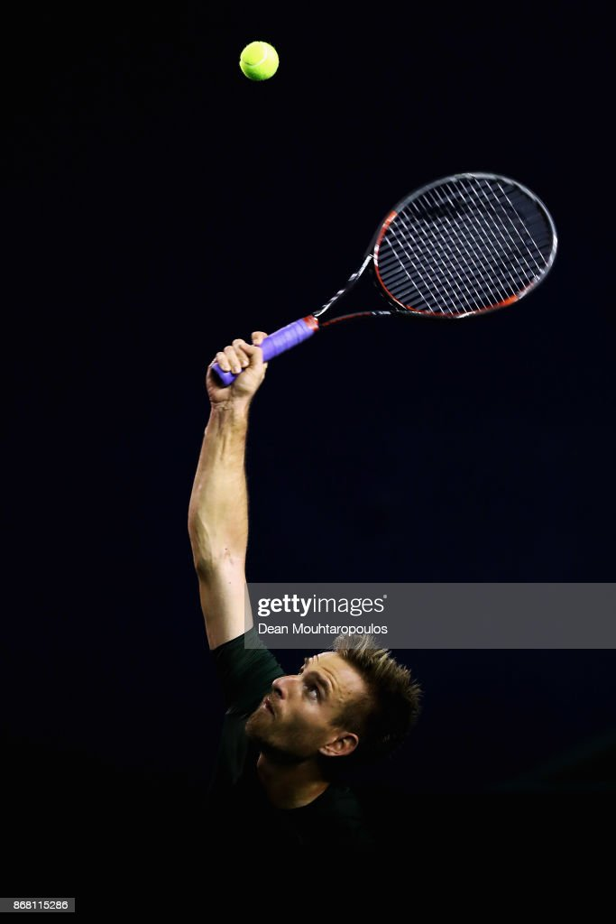 Peter Gojowczyk of Germany competes gainst Ryan Harrison of the USA during Day 1 of the Rolex Paris Masters held at the AccorHotels Arena on October 30, 2017 in Paris, France.