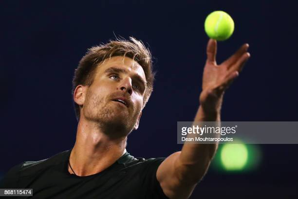 Peter Gojowczyk of Germany competes gainst Ryan Harrison of the USA during Day 1 of the Rolex Paris Masters held at the AccorHotels Arena on October...