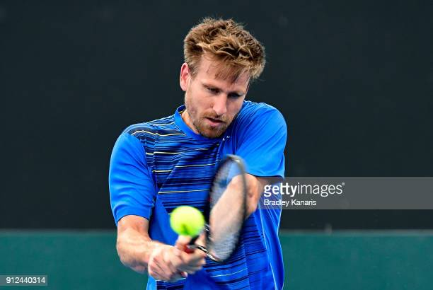Peter Gojowczyk of Germany plays a backhand during a practice session ahead of the Davis Cup World Group First Round tie between Australia and...