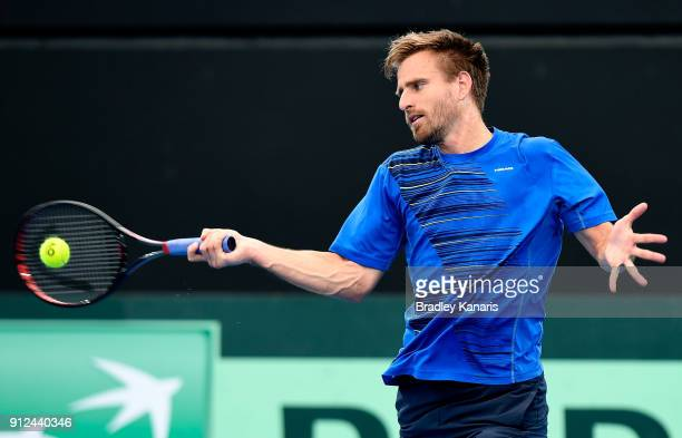 Peter Gojowczyk of Germany plays a forehand during a practice session ahead of the Davis Cup World Group First Round tie between Australia and...