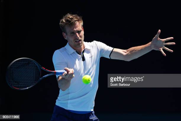 Peter Gojowczyk of Germany plays a forehand in his first round match against Mikhail Kukushkin of Kazakhstan on day two of the 2018 Australian Open...