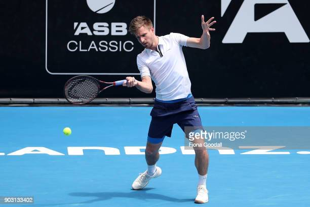 Peter Gojowczyk of Germany plays a forehand in his second round match against Jack Sock of USA during day three of the ASB Men's Classic at ASB...