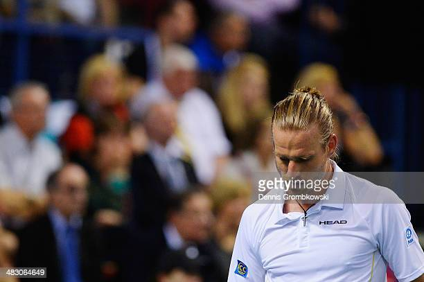 Peter Gojowczyk of Germany reacts during his match against Gael Monfils of France during day 3 of the Davis Cup Quarter Final match between France...