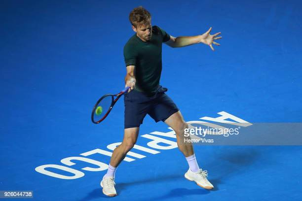 Peter Gojowczyk of Germany returns a shot during a match between Peter Gojowczyk of Germany and Alexander Zverev of Germany as part of the Telcel ATP...