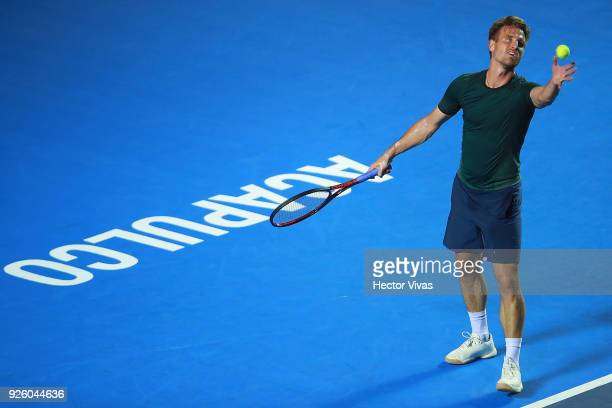 Peter Gojowczyk of Germany serves during a match between Peter Gojowczyk of Germany and Alexander Zverev of Germany as part of the Telcel ATP Mexican...