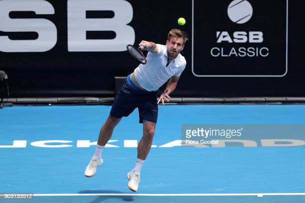 Peter Gojowczyk of Germany serves in his second round match against Jack Sock of USA during day three of the ASB Men's Classic at ASB Tennis Centre...
