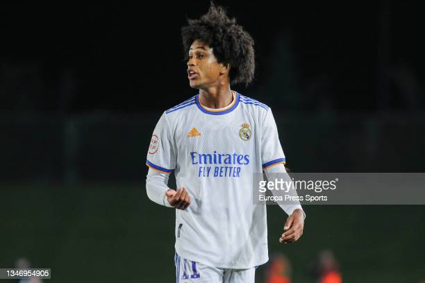 Peter Gonzalez of Real Madrid Castilla looks on during Primera RFEF Group 2 football match played between Real Madrid Castilla and FC Barcelona B at...