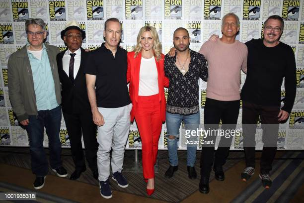 Peter Gould Giancarlo Esposito Bob Odenkirk Rhea Seehorn Michael Mando Patrick Fabian and Vince Gilligan attend the 'Better Call Saul' press...