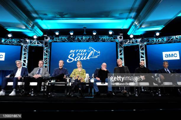 Peter Gould Vince Gilligan Bob Odenkirk Rhea Seehorn Jonathan Banks Patrick Fabian Michael Mando and Giancarlo Esposito of 'Better Call Saul' speak...