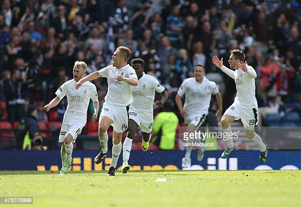 Peter Grant of Falkirk celebrates scoring during the William Hill Scottish Cup Final match between Falkirk and Inverness Caledonian Thistle at...