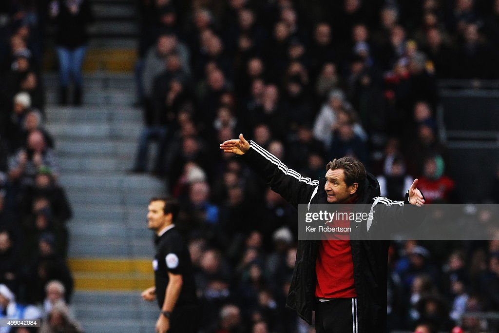 Peter Grant the Fulham caretaker head coach reacts during the Sky Bet Championship match between Fulham and Preston North End at Craven Cottage on November 28, 2015 in London, England.
