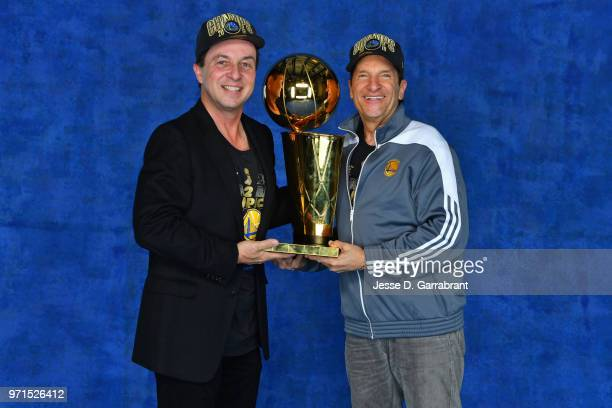 Peter Guber Executive Chairman of the Golden State Warriors and Joe Lacob Majority Owner of the Golden State Warriors pose for a portrait with the...