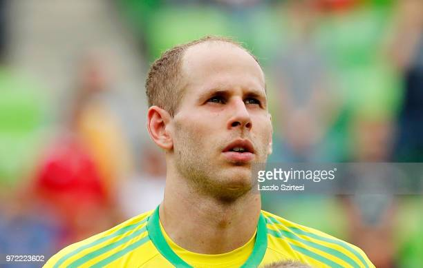 Peter Gulacsi of Hungary listens to the anthem prior to the International Friendly match between Hungary and Australia at Groupama Arena on June 9...