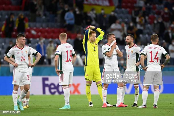 Peter Gulacsi of Hungary looks dejected after the UEFA Euro 2020 Championship Group F match between Germany and Hungary at Allianz Arena on June 23,...