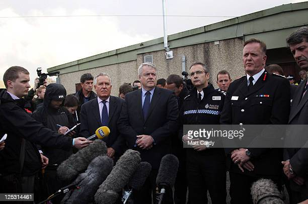 Peter Hain MP for Neath Welsh first minister Carwyn Jones Peter Vaughan Chief Constable of South Wales Police and Richard Smith from mid and west...
