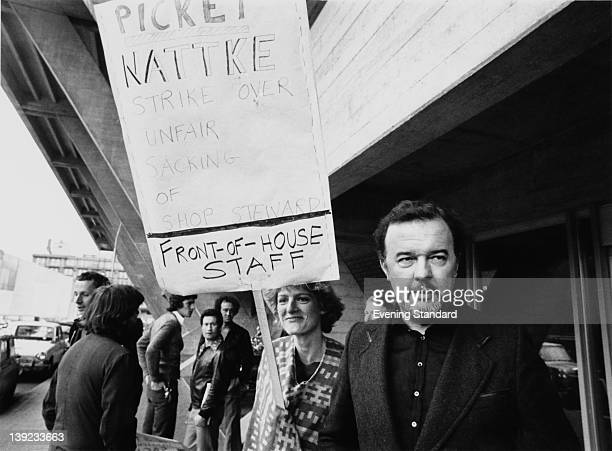 Peter Hall director of the National Theatre on a picket line outside the theatre during a strike by members of the union NATTKE London 31st May 1977...