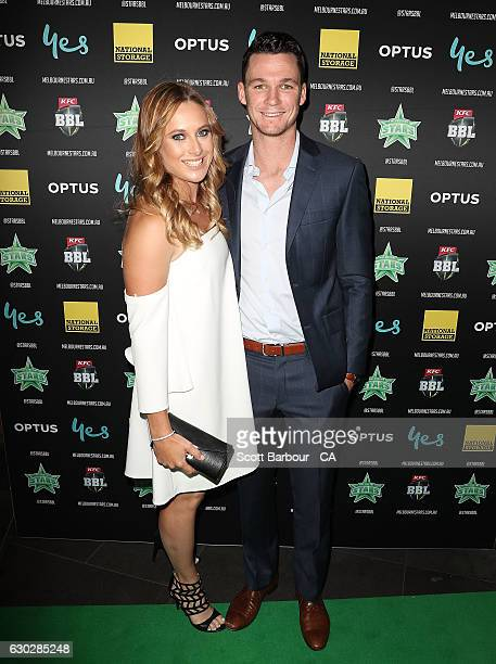 Peter Handscomb and his partner Sarah Ray attend the Melbourne Stars BBL Season Launch at The Emerson on December 20 2016 in Melbourne Australia