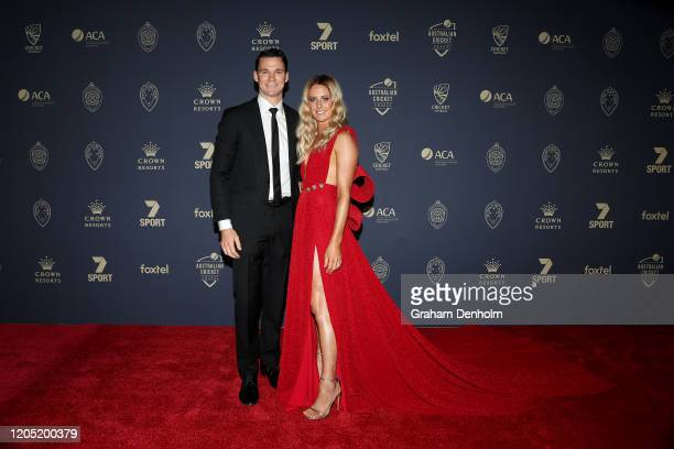 Peter Handscomb and wife Sarah Ray arrive ahead of the 2020 Cricket Australia Awards at Crown Palladium on February 10 2020 in Melbourne Australia
