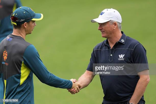 Peter Handscomb of Australia and Steve Waugh chat during an Australian nets session at Adelaide Oval on December 4 2018 in Adelaide Australia