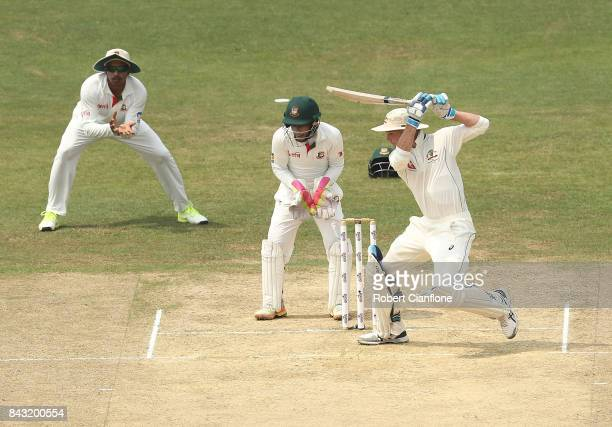 Peter Handscomb of Australia bats during day three of the Second Test match between Bangladesh and Australia at Zahur Ahmed Chowdhury Stadium on...