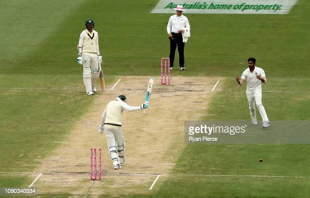 Peter Handscomb of Australia is bowled by Jasprit Bumrah of India during day four of the Fourth Test match in the series between Australia and India...