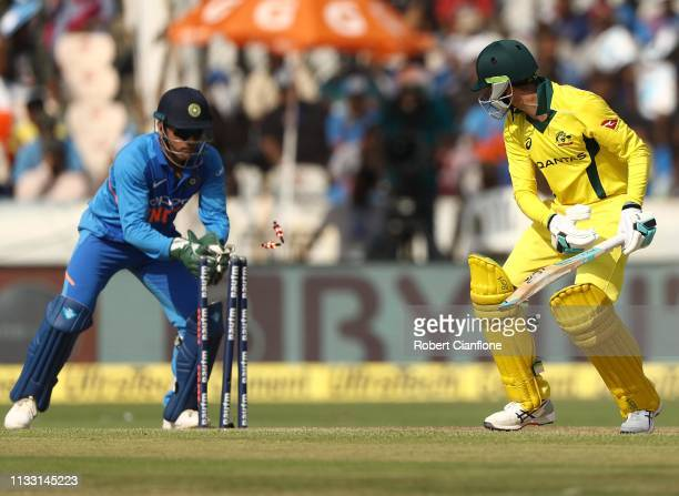 Peter Handscomb of Australia is stumped by MS Dhoni of India during game one of the One Day International series between India and Australia at Rajiv...