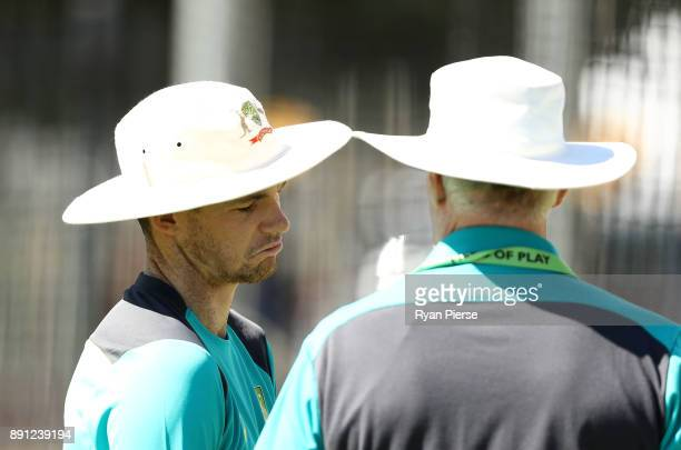 Peter Handscomb of Australia speaks with Australian Selector Greg Chappell during an Australian nets session ahead of the Third Test of the 2017/18...
