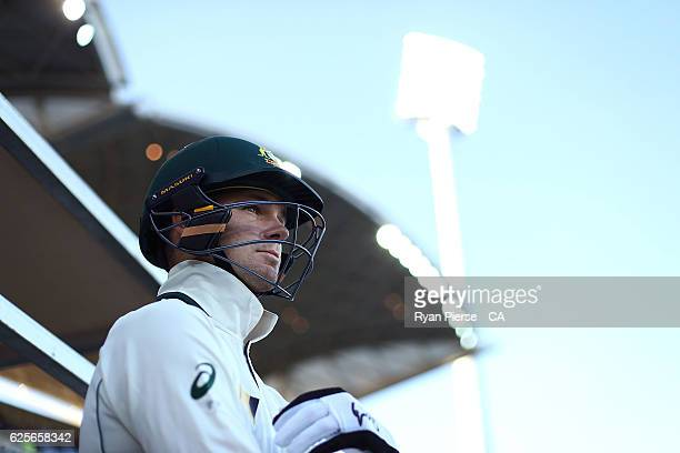 Peter Handscomb of Australia walks out to bat during day two of the Third Test match between Australia and South Africa at Adelaide Oval on November...
