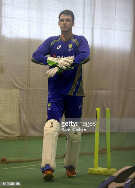 Peter Handscomb of Australia wicketkeeps during an Australia nets session at Zahur Ahmed Chowdhury Stadium on September 3 2017 in Chittagong...