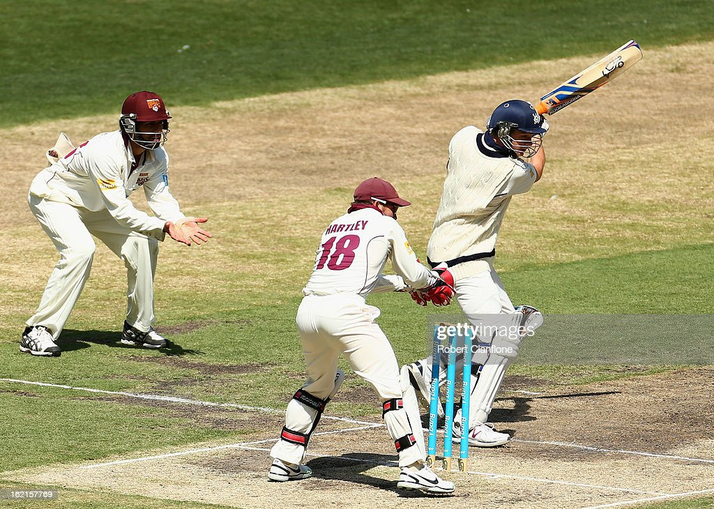 Peter Handscomb of the Bushrangers bats during day three of the Sheffield Shield match between the Victorian Bushrangers and Queensland Bulls at the Melbourne Cricket Ground on February 20, 2013 in Melbourne, Australia.