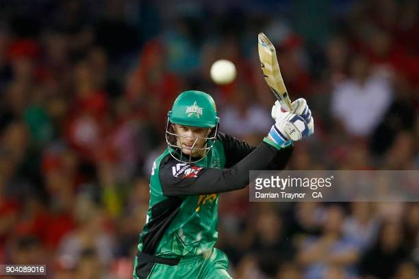 Peter Handscomb of the Melbourne Stars bats during the Big Bash League match between the Melbourne Renegades and the Melbourne Stars at Etihad...