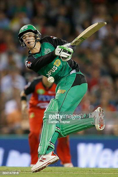 Peter Handscomb of the Melbourne Stars gets hit during the Big Bash League match between the Melbourne Renegades and the Melbourne Stars at Etihad...