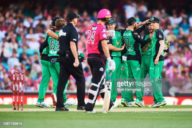 Peter Handscomb of the Stars celebrates taking the wicket of Jack Edwards of the Sixers during the Big Bash League match between the Sydney Sixers...