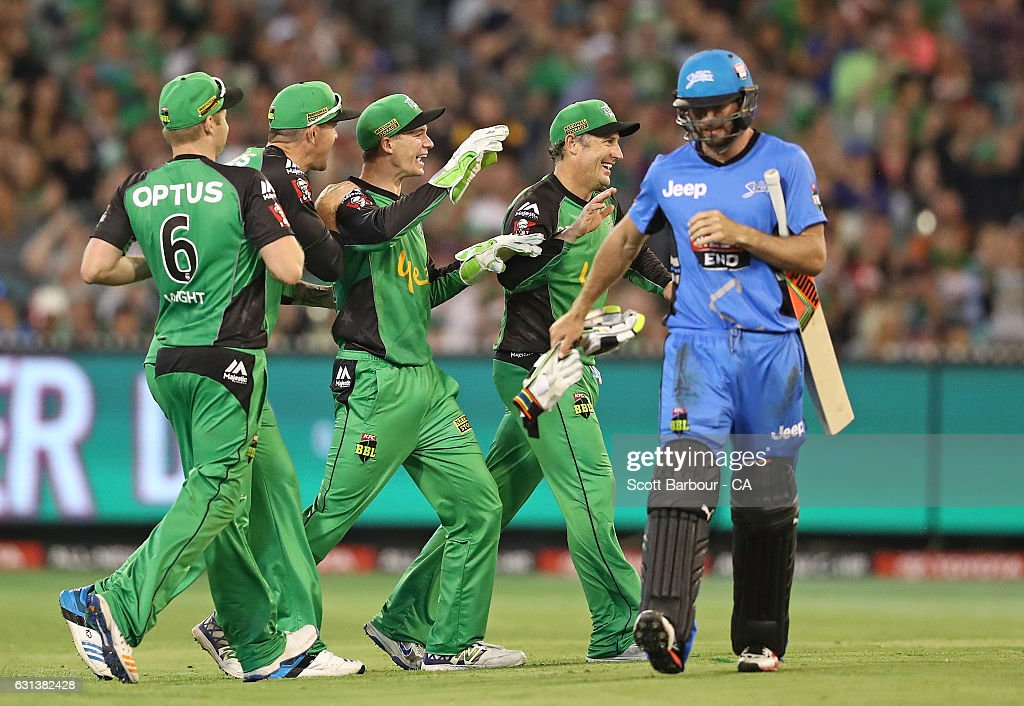 Peter Handscomb of the Stars is congratulated by his teammates after running out Michael Neser of the Strikers during the Big Bash League match between the Melbourne Stars and the Adelaide Strikers at the Melbourne Cricket Ground on January 10, 2017 in Melbourne, Australia.