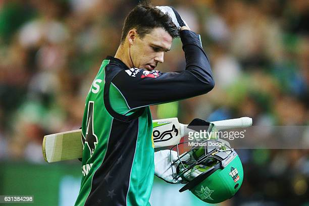 Peter Handscomb of the Stars looks dejected after his dismissal during the Big Bash League match between the Melbourne Stars and the Adelaide...
