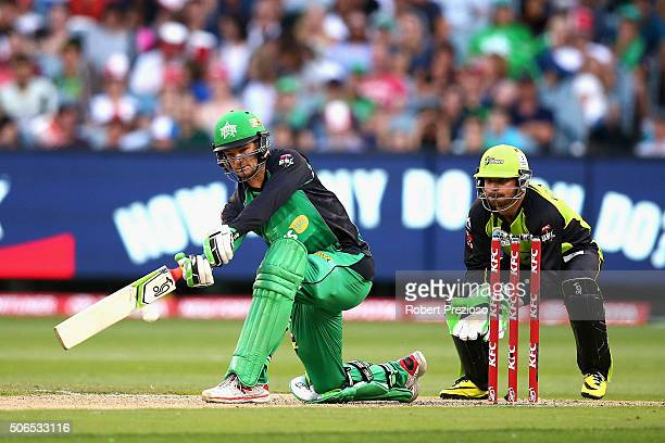 Peter Handscomb of the Stars plays a shot during the Big Bash League final match between Melbourne Stars and the Sydney Thunder at Melbourne Cricket...