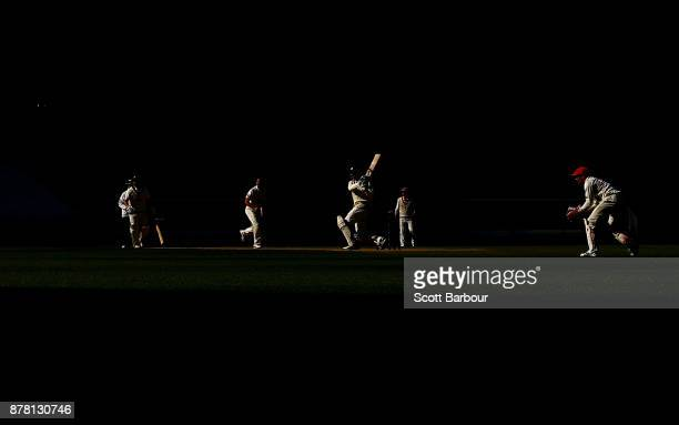 Peter Handscomb of Victoria bats as wicketkeeper Alex Carey of South Australia looks on during day two of the Sheffield Shield match between Victoria...