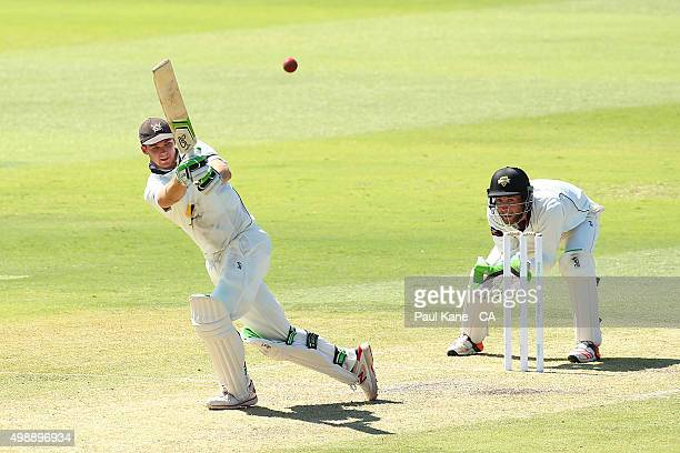 Peter Handscomb of Victoria bats during day one of the Sheffield Shield match between Western Australia and Victoria at WACA on November 27 2015 in...