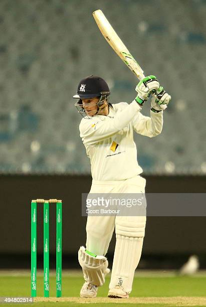 Peter Handscomb of Victoria bats during day two of the Sheffield Shield match between Victoria and Queensland at Melbourne Cricket Ground on October...