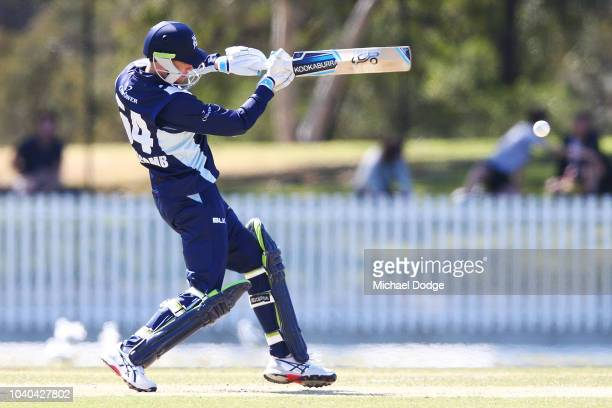 Peter Handscomb of Victoria bats during the JLT One Day Cup between Victoria and Western Australia at Junction Oval on September 26 2018 in Melbourne...
