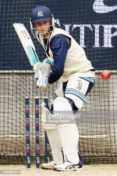 Peter Handscomb of Victoria takes part in a net session at the Melbourne Cricket Ground on October 24 2018 in Melbourne Australia