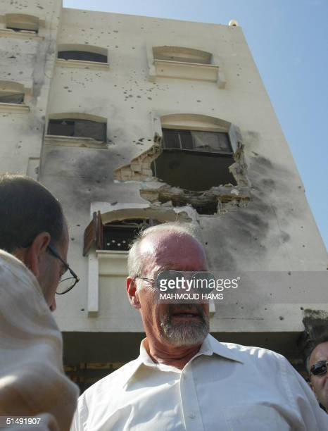 Peter Hansen, head of the UN Relief and Works Agency for Palestinian refugees , inspects the damage inflicted by Israeli troops during an 18-day...