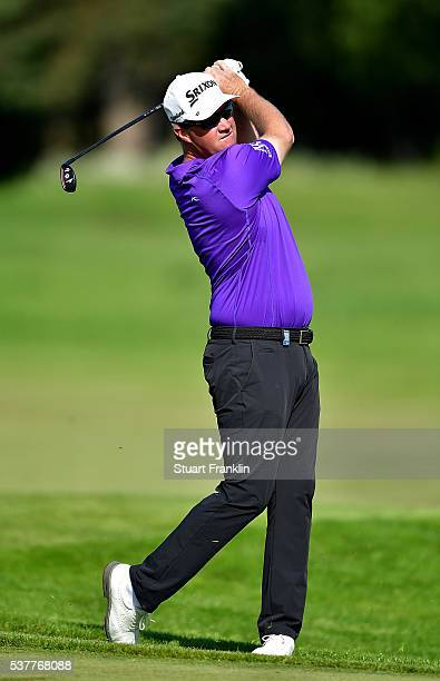 Peter Hanson of Sweden hits a shot on the 12th hole during the second round on day two of the Nordea Masters at Bro Hof Slott Golf Club on June 3,...