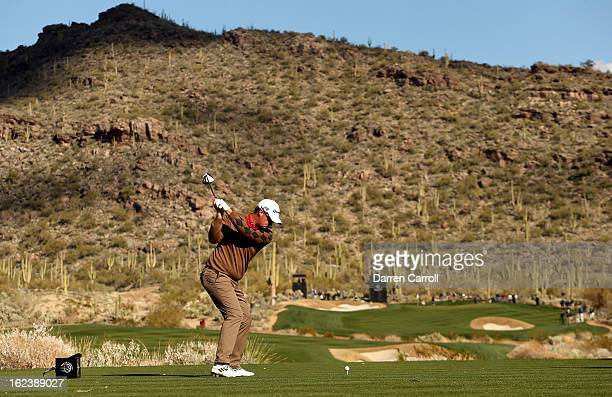 Peter Hanson of Sweden hits his tee shot on the 15th hole during the second round of the World Golf Championships Accenture Match Play at the Golf...