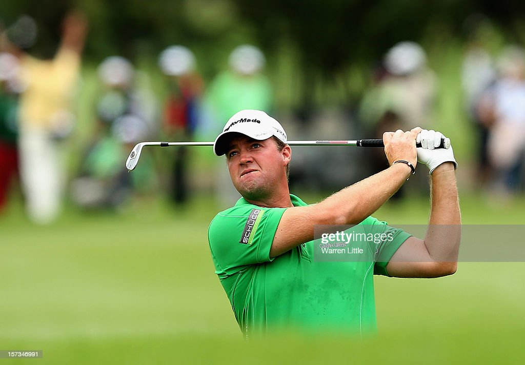 Peter Hanson of Sweden in action during the final round of the Nedbank Golf Challenge at the Gary Player Country Club on December 2, 2012 in Sun City, South Africa.